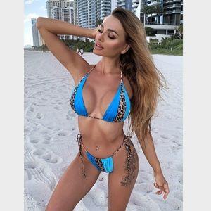 Blue Cheetah Color Block Bikini Swimsuit
